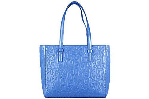 Salvatore Ferragamo borsa donna a spalla shopping in pelle nuova bonnie blu