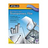 Laser Copier Transparency Film, Removable Sensing Stripe, Ltr, Clear, 100/Box by Apollo