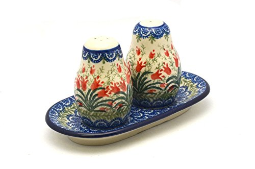 Polish Pottery Salt & Pepper Set - Crimson Bells