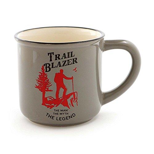 """- Enesco 6000126 Our Name Is Mud for Men """"Trailblazer"""" Stoneware Coffee Mug, 16 oz, Gray"""