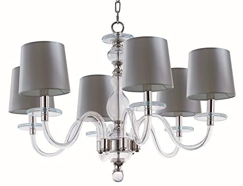 - Maxim 27546CLPN Venezia 6-Light Chandelier, Polished Nickel Finish, Clear Glass, CA Incandescent Incandescent Bulb , 100W Max., Dry Safety Rating, Standard Dimmable, Fabric Shade Material, 1150 Rated Lumens