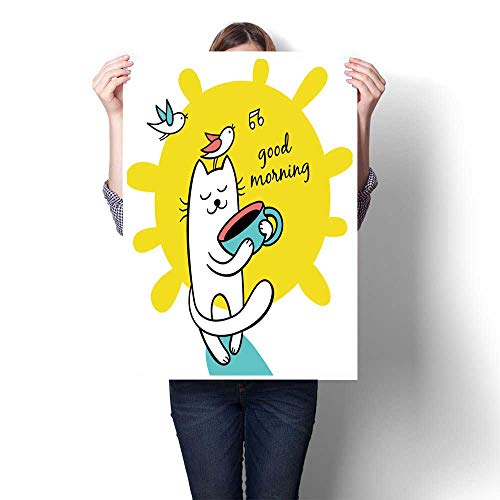 Modern Painting Good Morn Sunny Day cat h a Cap of Coffee Character Design Cartoon Drawn Canvas,28