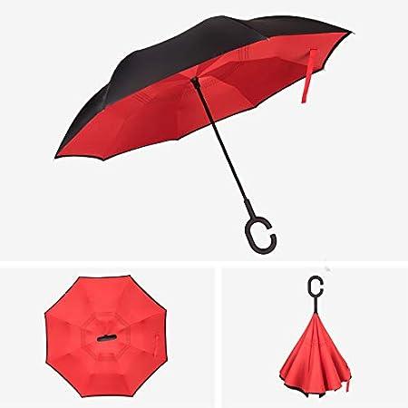 SANQING Parapluie Couleur Unie poign/ée en Forme de C Double Parapluie invers/é et Protection UV,Black