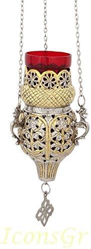 Orthodox Cheap super special price Greek Christian Bronze Hanging Vigil Colorado Springs Mall wi Votive Oil Lamp
