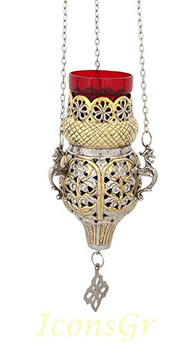 Orthodox Greek Christian Bronze Hanging Votive Vigil Oil Lamp with Chain and Red Glass - 9395gn by Iconsgr
