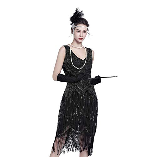 1920 Dresses for Women Gatsby Dresses for Women Sequin Flapper Tassels Hem 1920s Great Gatsby Themed Roaring 20s Dresses Black