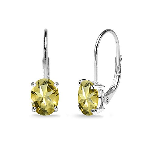 - Sterling Silver Citrine 7x5mm Oval Solitaire Dainty Leverback Earrings
