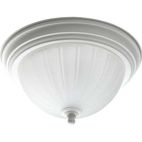 Progress Lighting P3816-30 1-Light Close-To-Ceiling with Etched Ribbed Glass, White