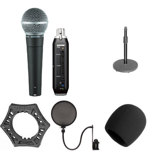 Shure SM58-X2U Microphone with Desk Stand, Mount, Windscreen, Pop Filter and Anti-Roll Device