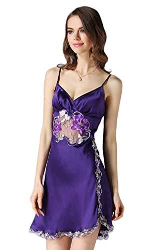 Flores Descubierta Vestido Camisones Pijama Mangas Bordado V Silk Sin Camison Camisón Espalda Mujer Vintage Sling Verano Violett cuello taqw7H6Sx