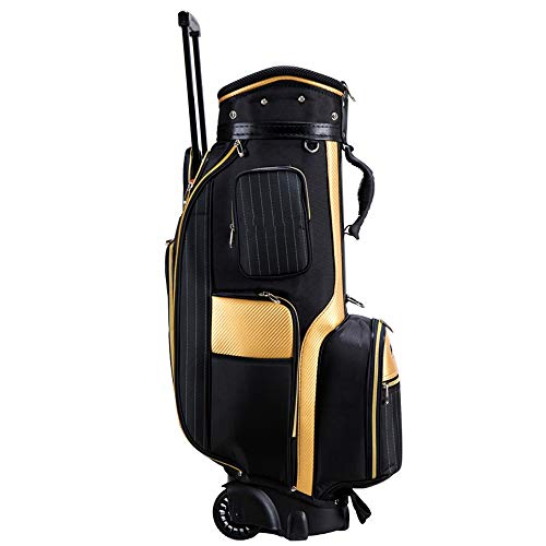 (YZPGRFB Golf Cart Bag, 5-Way Top with Integrated Dual Handle & External Putter Well, Cooler Pocket, Padded Strap, with tie Rod and Roller,Portable)