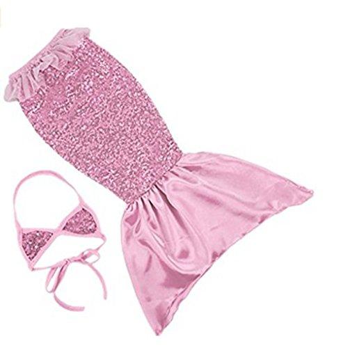 Pink Sequin Costume Mermaid (LEO BON Princess Mermaid Tail Sequin Beachwear Swimmable Costumes Bikini Dress Pink 3-4)