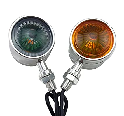 TASWK Motorcycle Double LED Turn Signals Lights Indicators Blinkers Lamps 1 Pair (Chorme)