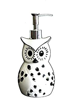 tuscany cute black and white owl ceramic soap jar by ack