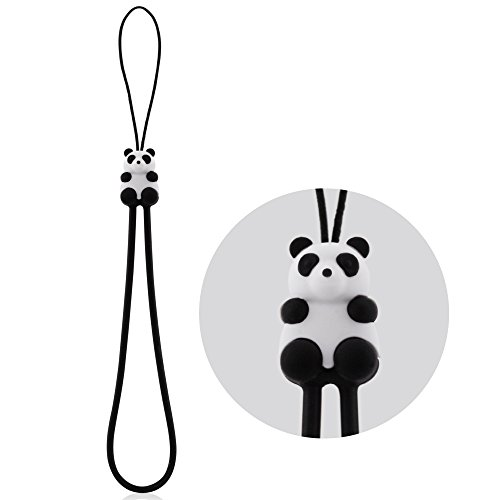 Multi-Purpose Hand Wrist Strap with Cute Animal Cartoon Phone Charm Elastic Silicone Lanyard Bracelet for Cell Phone iPhone Case ID Holder Name Badge Keys Keychain USB Flash Drive - Panda