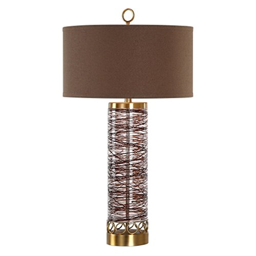 Chocolate Bronze Glass Spiral Table Lamp | Cylinder Column Drum Shade ()
