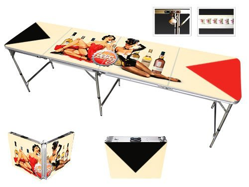 8' Folding Beer Pong Table with Bottle Opener, Ball Rack and 6 Pong Balls - Pin Up Girls Design - By Red Cup Pong