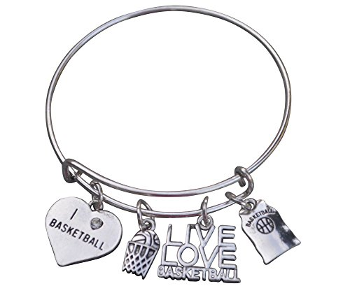 Basketball Bangle Bracelet- Basketball Bracelet- Basketball Jewelry For Girls- Perfect Basketball Gift - Basketball Charm Bracelet