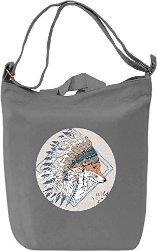 Fox Borsa Giornaliera Canvas Canvas Day Bag  100% Premium Cotton Canvas  DTG Printing 
