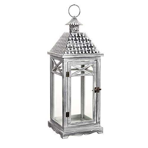 Darice Gray Wooden White Brush & Iron Roof: 8.27 x 22.46 inches Lantern