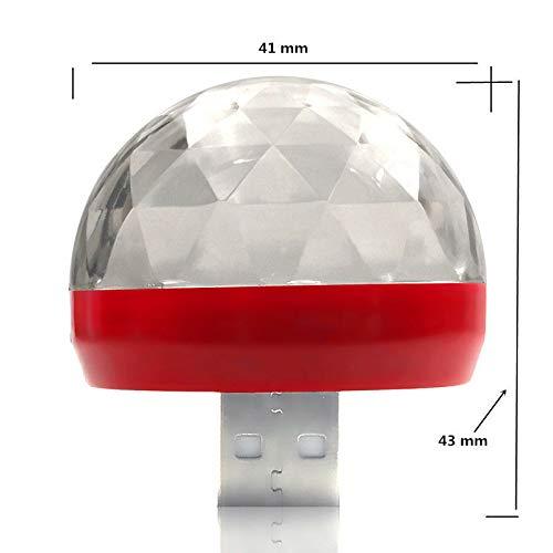 Duoying Mini Luces de Escenario Luces ambientales del Auto USB RGB Luces de Escenario giratorias Rojo para Autos Camiones y Cualquier Otro Lugar Divertido de m/úsica