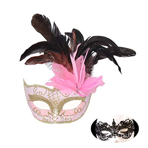 Haojing Masquerade Carnival Mardi Gras Costume Venetian Halloween Party Mask with Feather Flower and Gift(Princess Pink+Lace)