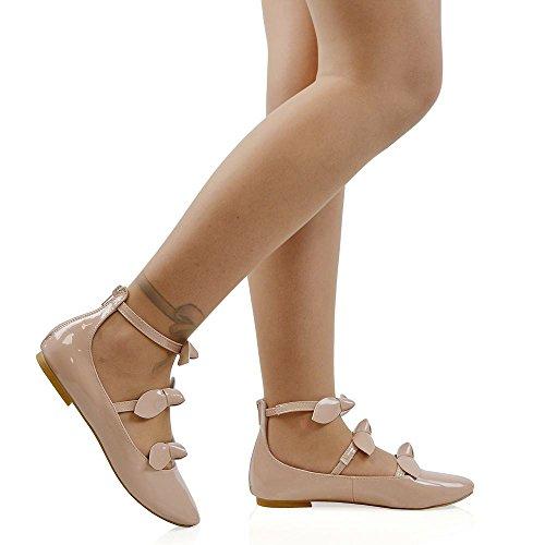 Essex Glam Kvinners Ballerina Pumper Triple Stropp Sløyfe Detalj Glidelås Runde Toe Sko Nude Patent