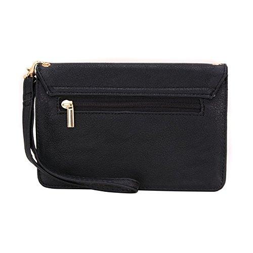 Conze Mujer embrague cartera todo bolsa con correas de hombro compatible con Smart teléfono para Samsung rex-90S5292, Dual SIMs Smartphone negro negro negro