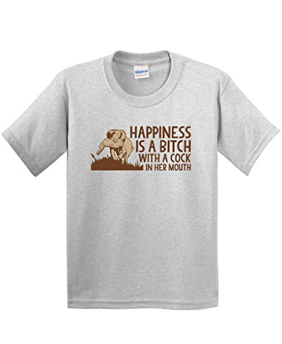 Happiness is A Bitch with A Cock Mouth Funny Hunting T-Shirt XL Ash Cock Ash Grey T-shirt