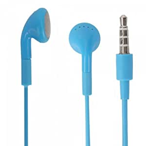 Blue 3.5mm Stereo Fashion Earphone Headsets with Microphone for Micromax A25 Smarty (By Things Needed)