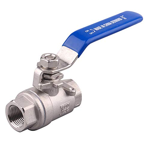 DERNORD Full Port Ball Valve Stainless Steel 304 Heavy Duty for Water, Oil, and Gas with Blue Locking Handles (3/8