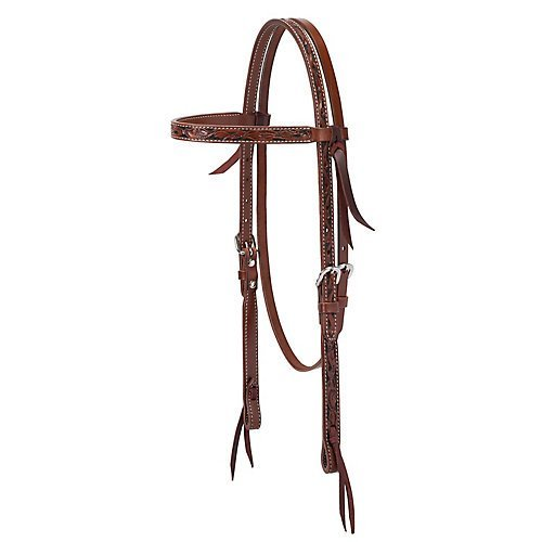 Turquoise Cross Floral Carved Brow Band Headstall - Brow Headstall