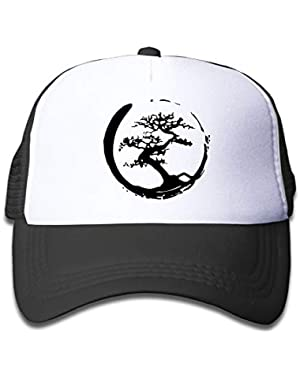 Zen Bonsai Tree in Enso Circle On Boys and Girls Trucker Hat, Youth Toddler Mesh Hats Baseball Cap