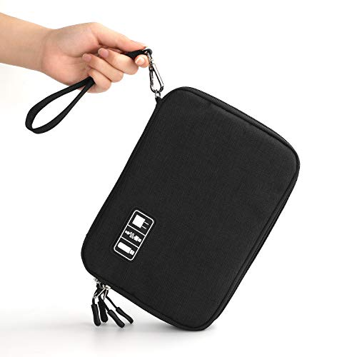 Electronics Organizer, Jelly Comb Electronic Accessories Cable Organizer Bag Waterproof Travel Cable Storage Bag for Charging Cable, Power Bank, iPad (Up to 11'' and More-Large(All Black) by Jelly Comb (Image #6)