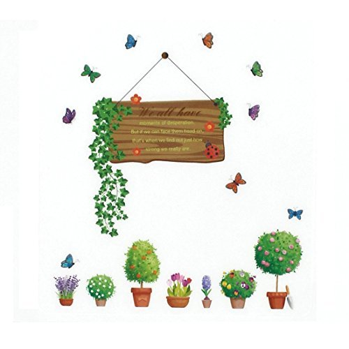 DealMux Citar Padro Planta de vaso Casa Decor da parede da cozinha Adesivo Decalque Mural