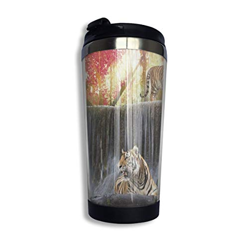 Copper Leaf Waterfalls (Wjfnfgjl Fall Maple Leaf Waterfall Jungle Tiger Stainless Steel Vacuum Insulated Flask Thermos With Cup Cap Construction For Hot Or Cold Beverages Coffee)