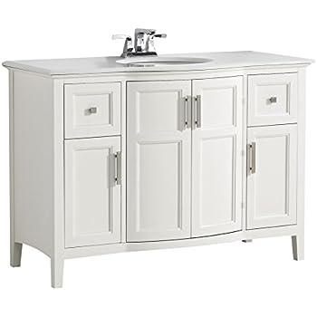 Simpli Home Chelsea Bath Vanity With White Quartz Marble Top - Bathroom vanities marble top