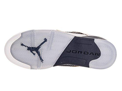 Nike Air Jordan 5 Retro Low (GS), Zapatillas de Baloncesto Para Niños Blanco / Dorado / Azul (White / Metallic Gold-Mid Navy)