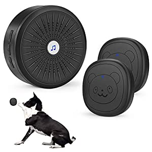 KISSIN Dog Door Bell with Wireless Touch Dog Bells for Potty Training and IP55 Waterproof Dog Training Door Bells(Black) 120