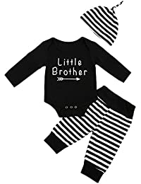 Little Brother Big Sister Long Sleeve Kids Clothes Romper T-Shirt Tops, Stripe Pants and Hat For Baby Boy Only