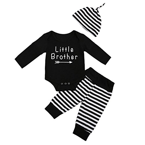 Little Brother Big Sister Toddler Baby Boy Girl Long Sleeve Matching Clothes Romper T-shirt Tops Dress Outfits, Stripe Pants and Hat for Baby Boy Only (0-6 months, Little Brother Sets)