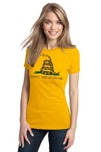 "JTshirt.com-20068-GADSDEN FLAG Ladies\' T-shirt / ""Don\'t Tread on Me"" Revolutionary, Tea Party, Conservative Tee-B009D96OI6-T Shirt Design"