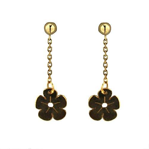 18 KT Yellow Gold dangle flower earrings ( 1.0 x 0.30 inch) by Amalia