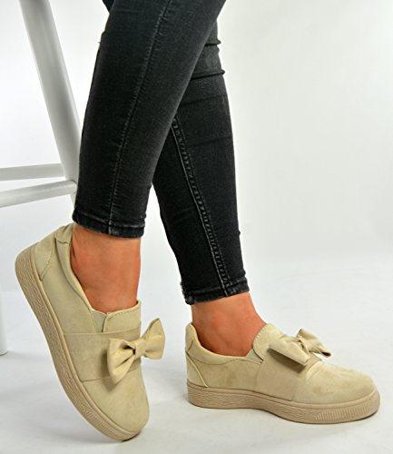 Pumps Uk Fashion Fashion Brand Ladies Bow 8 Beige Size Trainers Casual 3 On Shoes Sneakers Womens New 2017 Slip Comfy Cucu Summer O6qdwUO