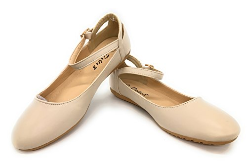 EASY21 Womens Ballet Shoe Comfort Slip On Flats Faux Leather,Nude T77,9 B(M)US