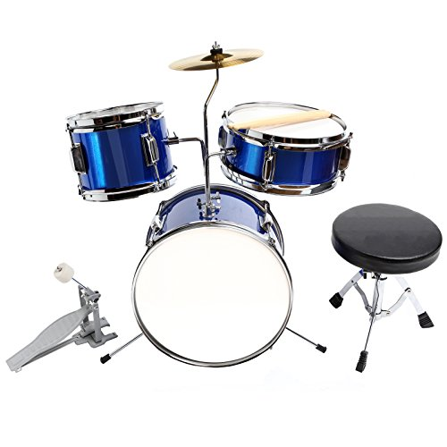 LAGRIMA 13inch 3 Piece Blue Complete Drum Set Cymbal Junior Child Kids Kit with Stool Sticks