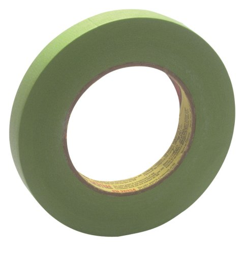 3M Scotch 233+ Performance Critical Edge Masking Tape, 25 lbs/in Tensile Strength, 55m Length x 18mm Width, Green