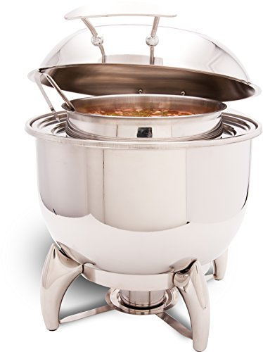 PrestoWare PWI-523 Glass Top Round Soup Station 11.5 Qt with Stand, Stainless Steel Chafer for Catering - Presto ware