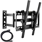 """Tilt & Swivel TV Wall Mount Bracket with Full Motion Articulating Arm for Most 32-55"""" Samsung LG Panasonic Sony 3D 4K 1080p HD TVs up to 110lbs VESA 400x400mm,HDMI Cable,Magnetic Bubble Level Included"""
