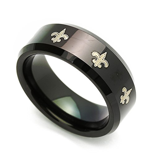 Double Accent Custom Engraving 8MM Comfort Fit Tungsten Wedding Band Fleur De Lis Patterned Black Promise Ring